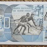 Guinea Bissau 50 pesos 1975 (140x70mm) pk.1a reverso