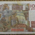 Francia 100 francos 2-10-1952 Jeune Paysan pk.128e reverso