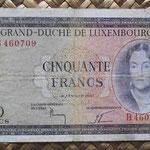 Luxemburgo 50 francos 1961 (140x75mm) pk.51a anverso