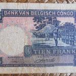 Congo Belga 10 francos 1949 (130x84mm) pk.14E reverso