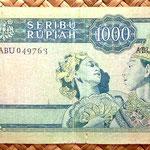 Indonesia 1000 rupias 1960 pk.88b reverso