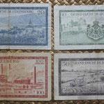 Luxemburgo serie francos Gran Duquesa Carlota años 50 s.XX reversos