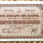 Indias Holandesas 25 gulden 1927 (170x90mm) pk.71 anverso
