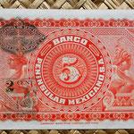 México, 5 pesos 1915 Banco Peninsular Mexicano -Mérida reverso