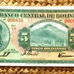 Bolivia 5 bolivianos 1928 (144x74mm) anverso
