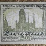 Danzig 50 pfenning 1919 pk.12 reverso