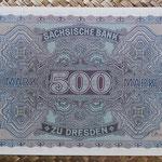 Alemania 500 marcos 1922 Sachsische Bank Dresden (175x116mm) pk.S954a reverso
