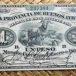 argentina 1 peso 1869 Provincia de Buenos Aires uniface