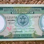 Guinea Ecuatorial 100 ekuele 1975 (162x68mm) anverso
