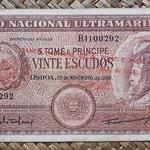 Santo Tomé y Príncipe 20 escudos 1958 sobreimpreso 1976 (150x78mm) pk.44a anverso