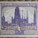 Danzig 50 pfenning 1919 pk.11 reverso