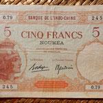 Nueva Caledonia 5 francos 1926 (148x92mm) pk. 36b anverso