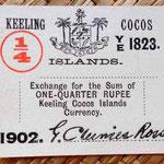Islas Cocos un cuarto de rupia 1902 uniface