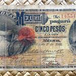 México, 5 pesos 1905 Banco Nacional de México (154x72mm) anverso