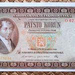 Checoslovaquia 500 korun 1946 anverso