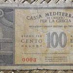 Grecia ocup. italiana WWII 100 dracmas 1941 pk.M4 reverso