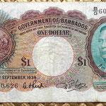 Barbados 1 dolar 1939 anverso