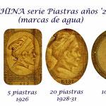 Indochina serie colonial Piastras años '20 s. XX marcas de agua