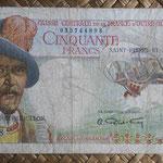 San Pedro y Miguelón 50 francos 1950-1960 (140x76mm) pk. 25 anverso