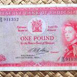 Rhodesia 1 pound 1964 anverso