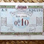 Francia 0.10 francos 1923 -Régie des Chemins de Fer des Territoires Occupés- anverso