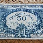 Mónaco, 50 céntimos 1920 (100x64mm) pk.3 anverso