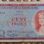 Luxemburgo 100 francos 1956 (148x78mm) pk.50a anverso