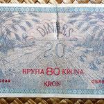 Reino de Serbia, Croacia y Eslovenia 20 dinares 80 coronas 1919 reverso