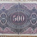 Alemania 500 marcos 1890 Sachsische Bank Dresden (180x116mm) pk.S953a reverso