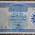 Irak 1 dinar 1959 (154x80mm) pk.53a anverso