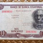 Guinea Ecuatorial 1000 bipkwele 1979 (138x74mm)  anverso