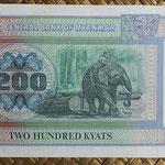 Myanmar 200 kyats 1991-98 (168x79mm) pk.75b reverso