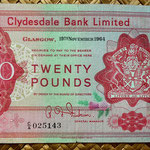 Escocia 20 pounds sterling -Clydesdale Bank Limited 1960 (160x92mm) anverso