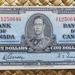 Canada 5 dollars 1937 (154x73mm) pk.60b anverso