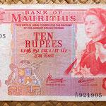 Isla Mauricio 10 rupias 1967 anverso