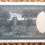 Rodesia 10 dólares 1976 reverso