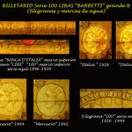 Italia 100 liras Serie Barbetti -grande B marcas de agua