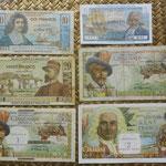 San Pedro y Miguelón serie francos 1950-1960 -Ilustres en Ultramar- anversos