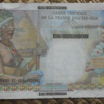 San Pedro y Miguelon 1 Nuevo franco NF sobreimpreso 50 francos Reunion (150x80mm) pk.30b reverso