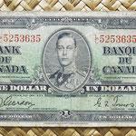 Canada 1 dollar 1937 (154x73mm) pk.58b anverso