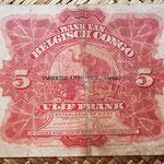 Congo belga 5 francos 1942 pk.13 reverso