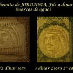 Jordania serie dinares L1959 1ª-2ª ed. marcas de agua
