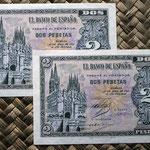 España 2 pesetas 1938 (96x66mm) pk.109 pareja correlativa anversos