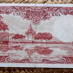 Birmania 50 kyats 1958 pk 50a reverso