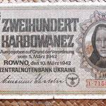 Ucrania ocupación alemana WWII 200 karbovanets 1942 anverso