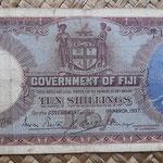 Islas Fiji 10 shillings 1937 (176x86mm) pk.30a anverso
