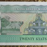 Myanmar 20 kyats 1994 (146x70mm) pk.72 reverso