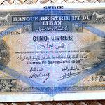 Siria 5 libras 1939 anverso