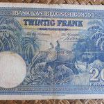 Congo Belga 20 francos 1948 (140x88mm) pk.15F reverso