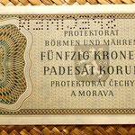Bohemia y Moravia 50 coronas 1944 Specimen reverso
